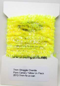 7mm Straggle Chenille Fluro Canary Yellow Uv Fleck
