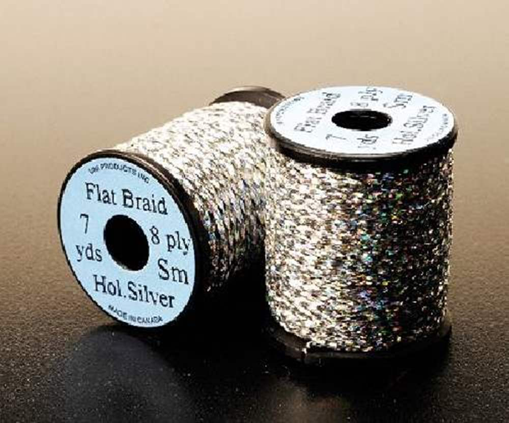 Uni Holographic Flat Braid Silver