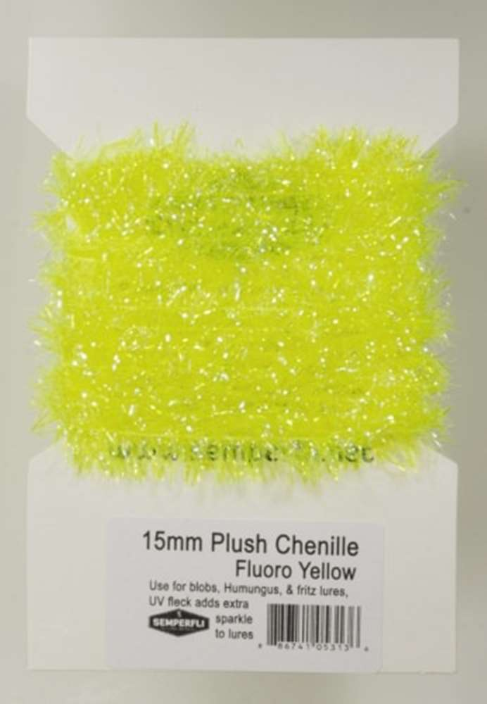 15mm Plush Transluscent Chenille Fluoro Yellow