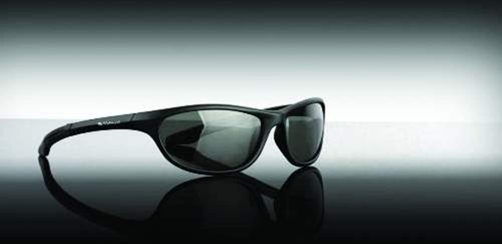 Sunglasses Black Wrap Around Smoke Lens