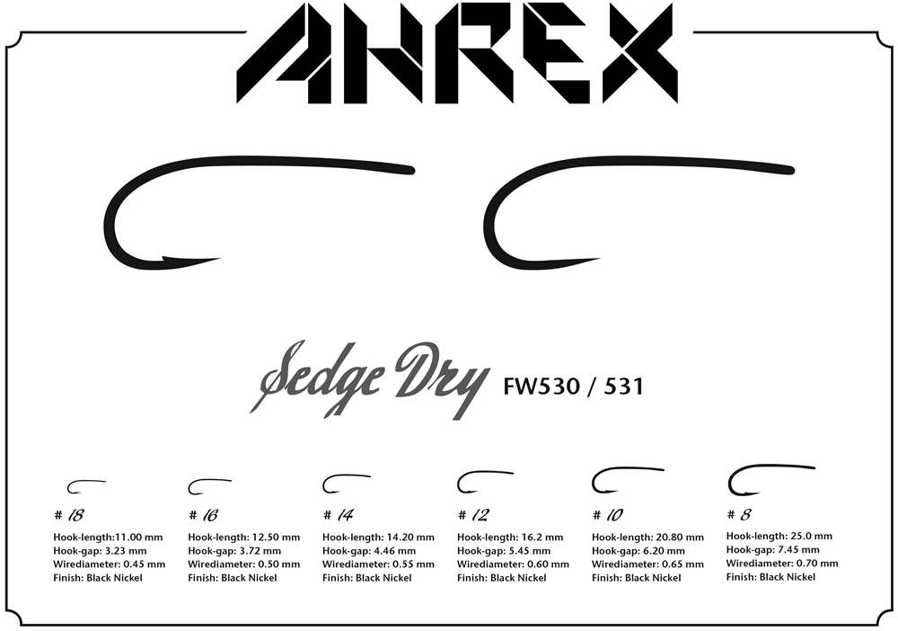 Ahrex FW530 - Sedge Dry Hook Barbed #16
