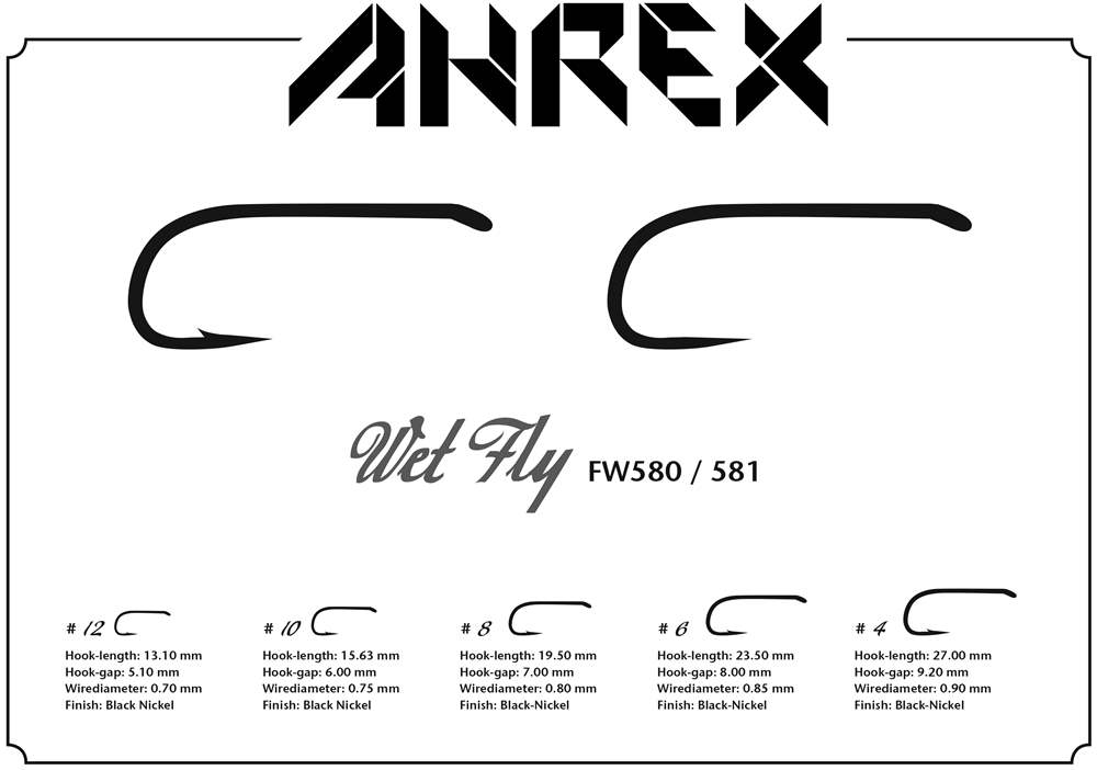 Ahrex FW580 - Wet Fly Hook Barbed #12