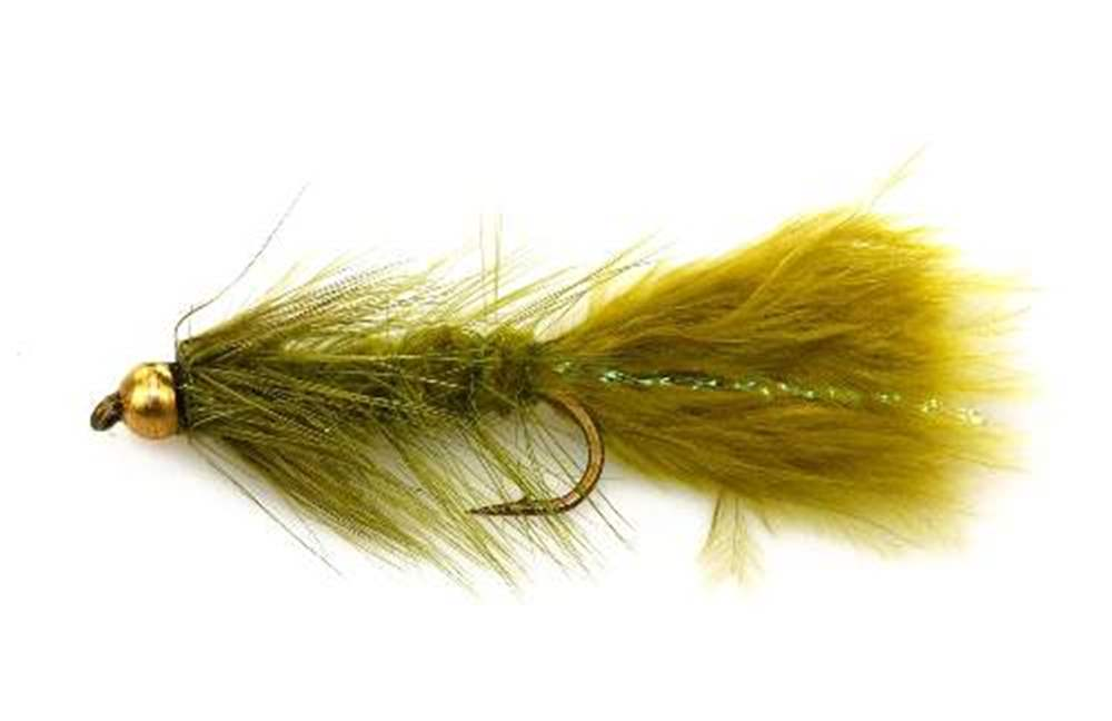 Bead Head  Olive Woolly Bugger With Blue Tinsel In Tail
