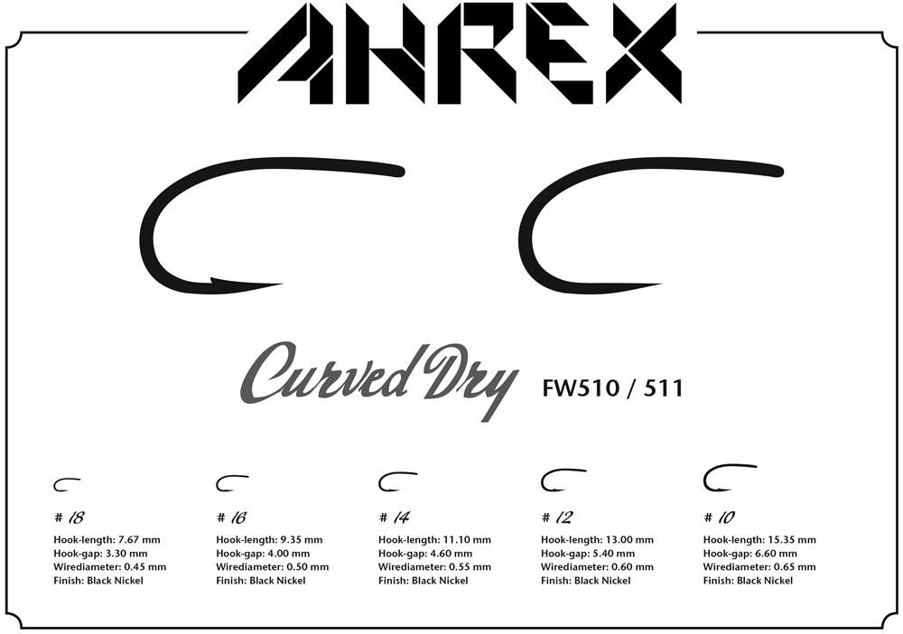 Ahrex FW511 - Curved Dry Hook Barbless #16