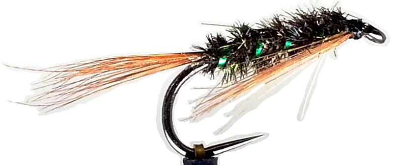 Trout // Grayling Flies 3 Holo Green Cheeked Diawl Bachs