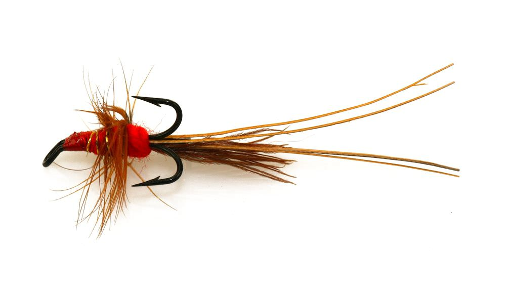RED FRANCES SHRIMP DOUBLE HOOK SALMON FLIES.