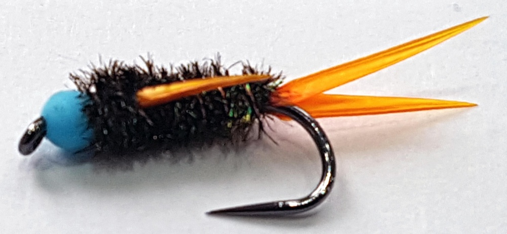 Barbless Inferno Bug - Blue Hot Spot Size 10