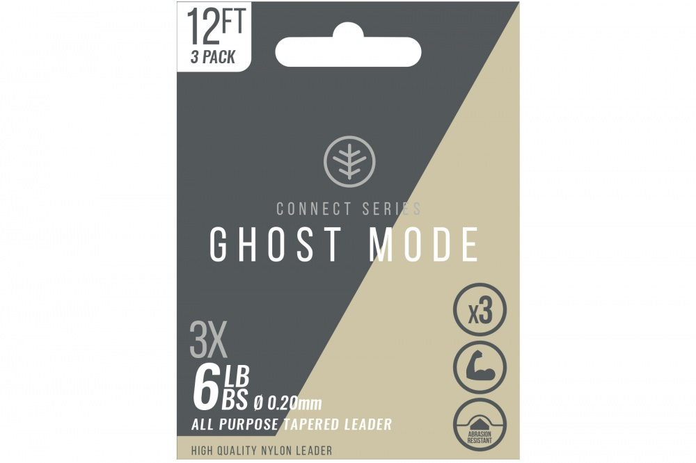 Wychwood - Connect Series - Nylon 12ft Tapered Leader - Ghost Mode - Triple Pack - 6lb