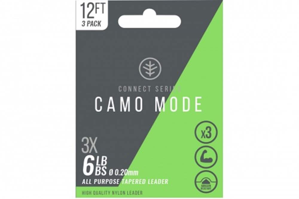 Wychwood Connect Series 6lb Camo Mode Nylon 0.20mm Tapered Leader (Triple Pack) 12 Feet