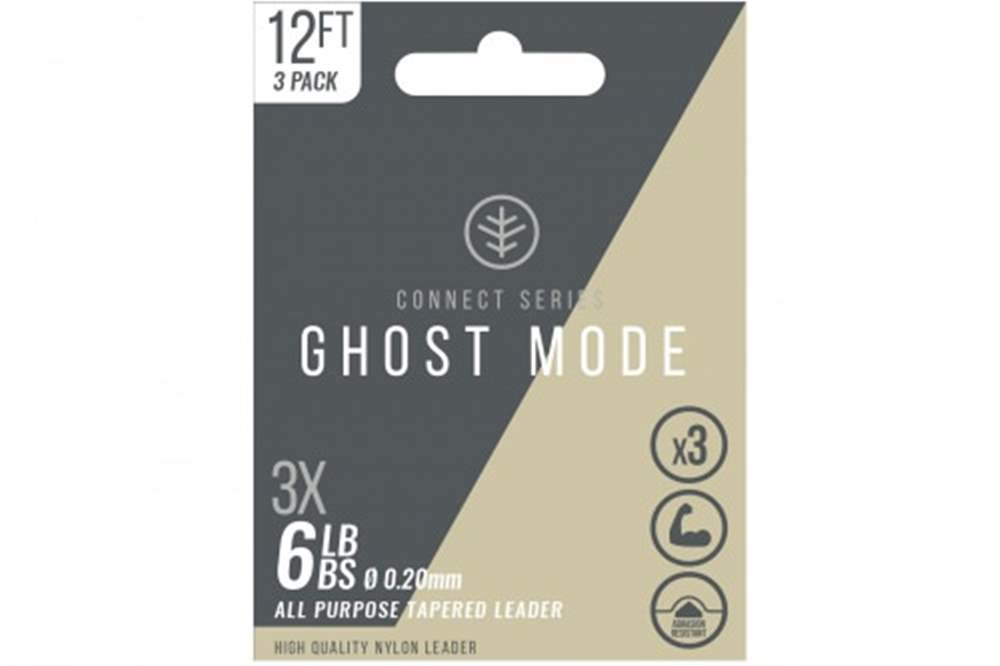 Wychwood Connect Series 6lb Ghost Mode Nylon 0.20mm Tapered Leader (Triple Pack) 12 Feet