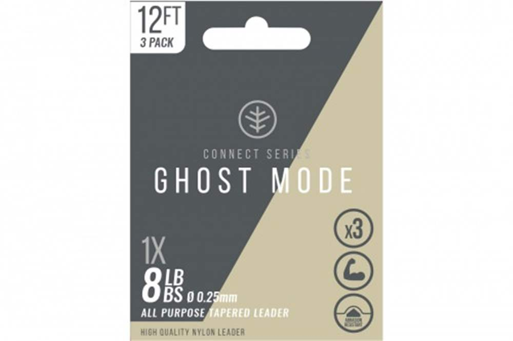 Wychwood Connect Series 8lb Ghost Mode Nylon 0.25mm Tapered Leader (Triple Pack) 12 Feet