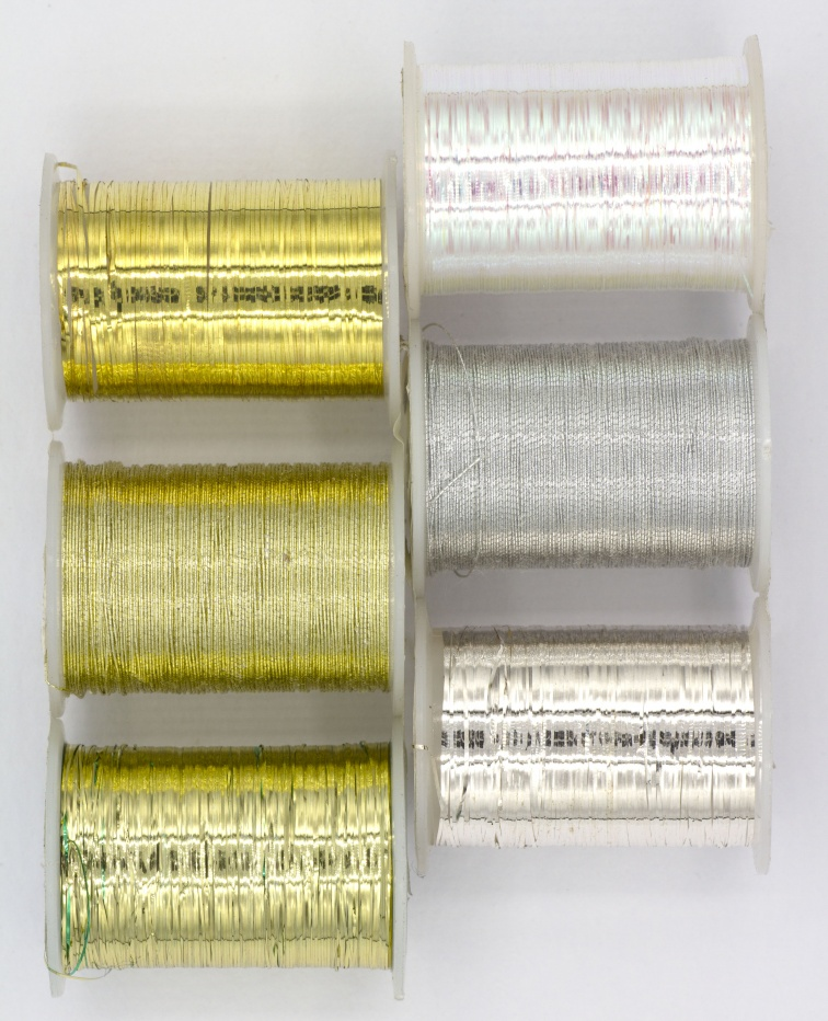 Basic Fly Tyers Materials Small Spool Kit Pack 7 Mixed Spools Tinsels /& Wires
