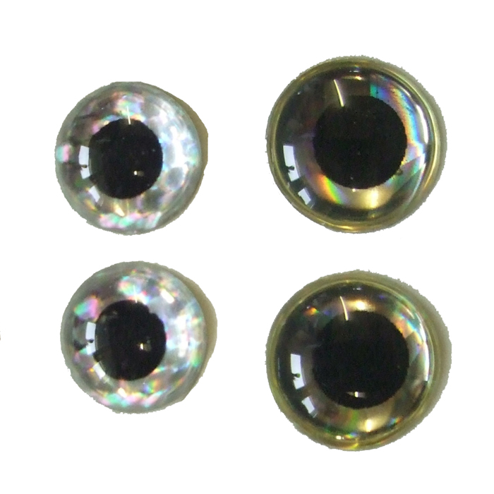 Turrall - 3D Raised Eyes - 3mm - Silver / Black